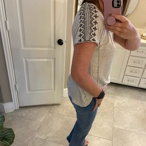 Embroidered sleeve top